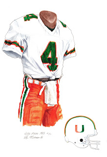 1987 University of Miami Hurricanes football uniform original art for sale