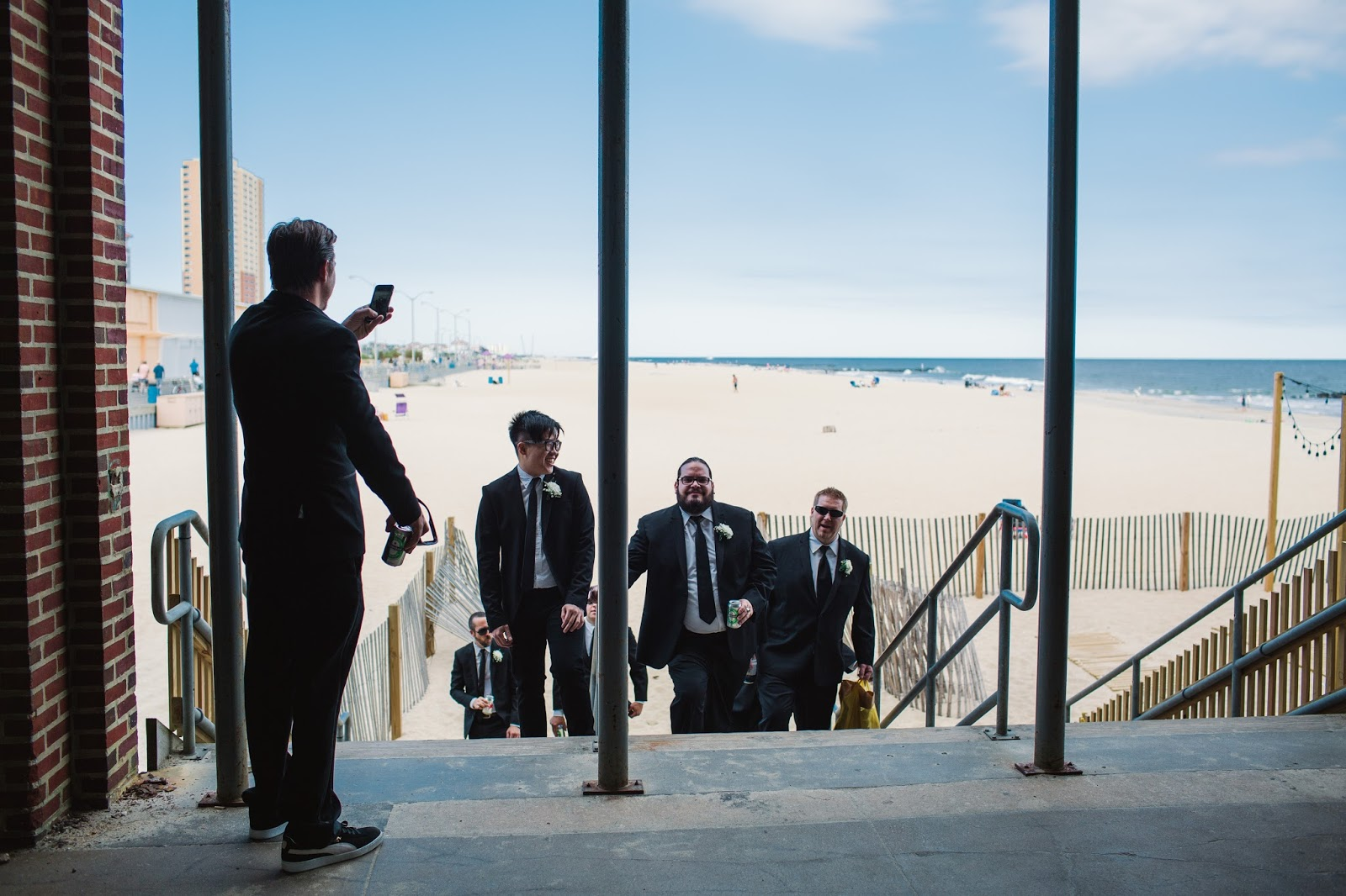 The Groom and his groomsmen at Anchor's Bend / Asbury Park Wedding Photographer - blog.cassiecastellaw.com