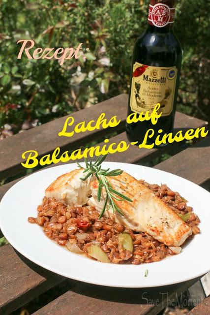Lachs auf Balsamico-Linsen