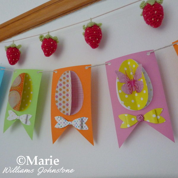 Close Up of the Finished Easter Egg Paper Banner Bunting Garland last minute craft Spring make tutorial instructions