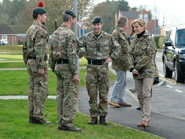 Countess Sophie wore a military style jacket, wore a pair of sand coloured trousers which complemented her camouflage jacket worn especially for the occasion