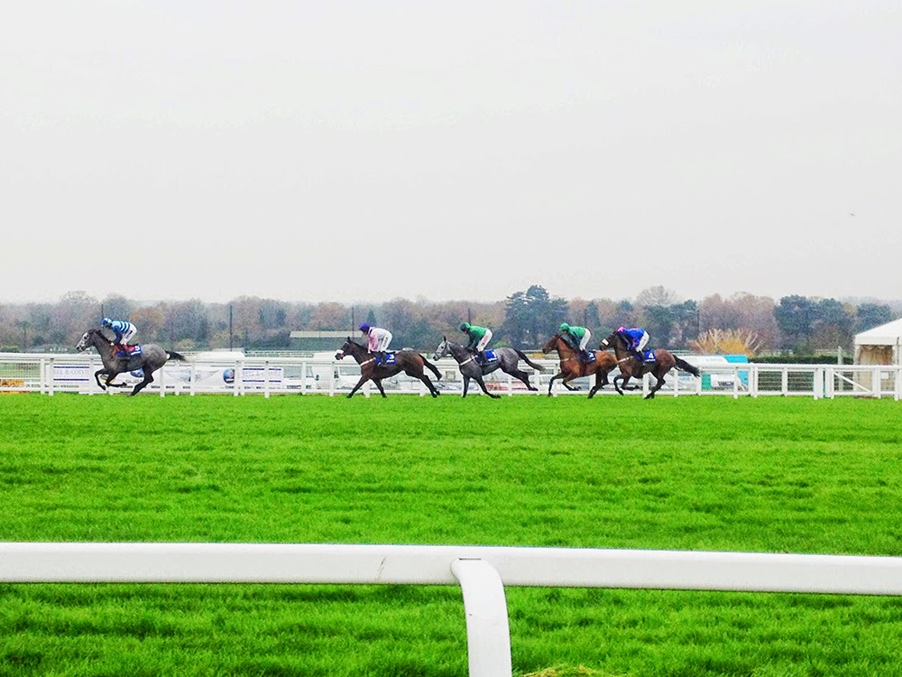 A day at the races in winter, at Sandown Racecourse