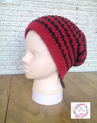 Cross Stitch Slouch Hat - side