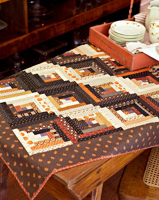 Harvest Log Cabin Table Topper Free Pattern