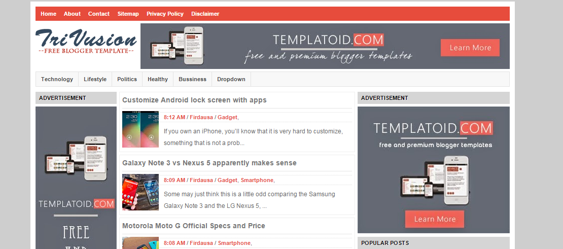 TriVusion blogger template | 101helper