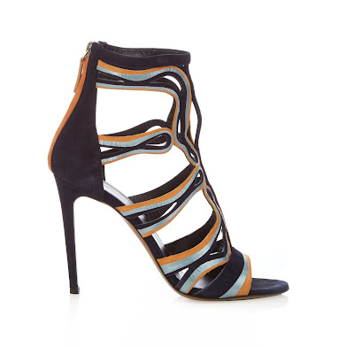 Peter Pilotto Caged Leather and Suede Sandals