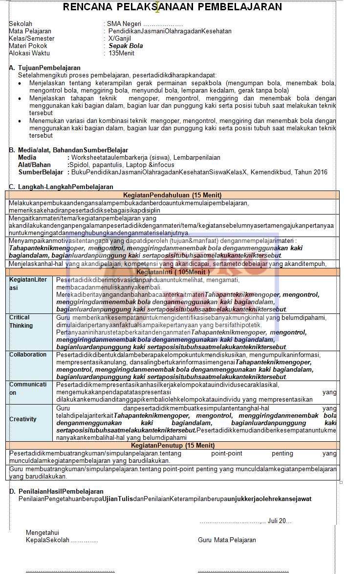 gambar contoh RPP PJOK SMA format 1 Lembar revisi 2020