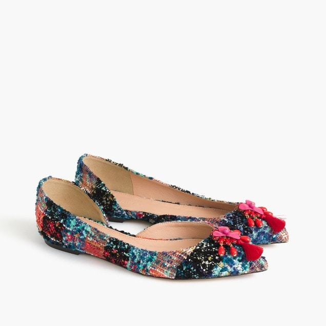 J Crew audrey flats in embellished tweed
