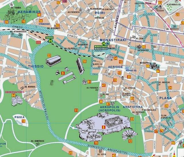 mapa del acrópolis Atenas