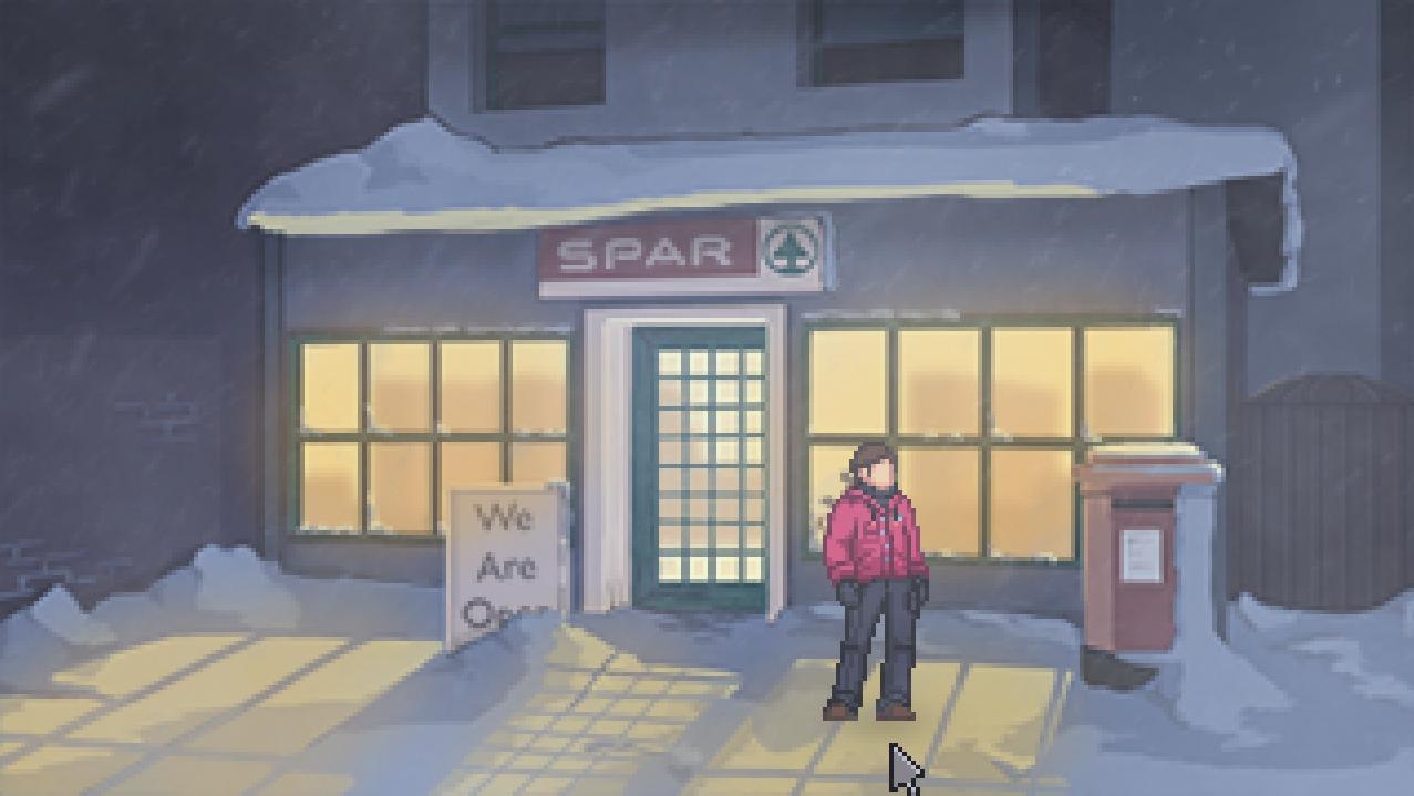 El protagonista en la puerta de un supermercado.