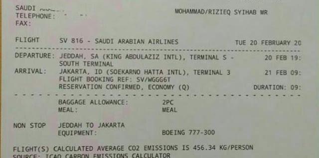 Habib Rizieq pulang ke Indonesia 21 Februari, tiket pesawat sudah dipesan