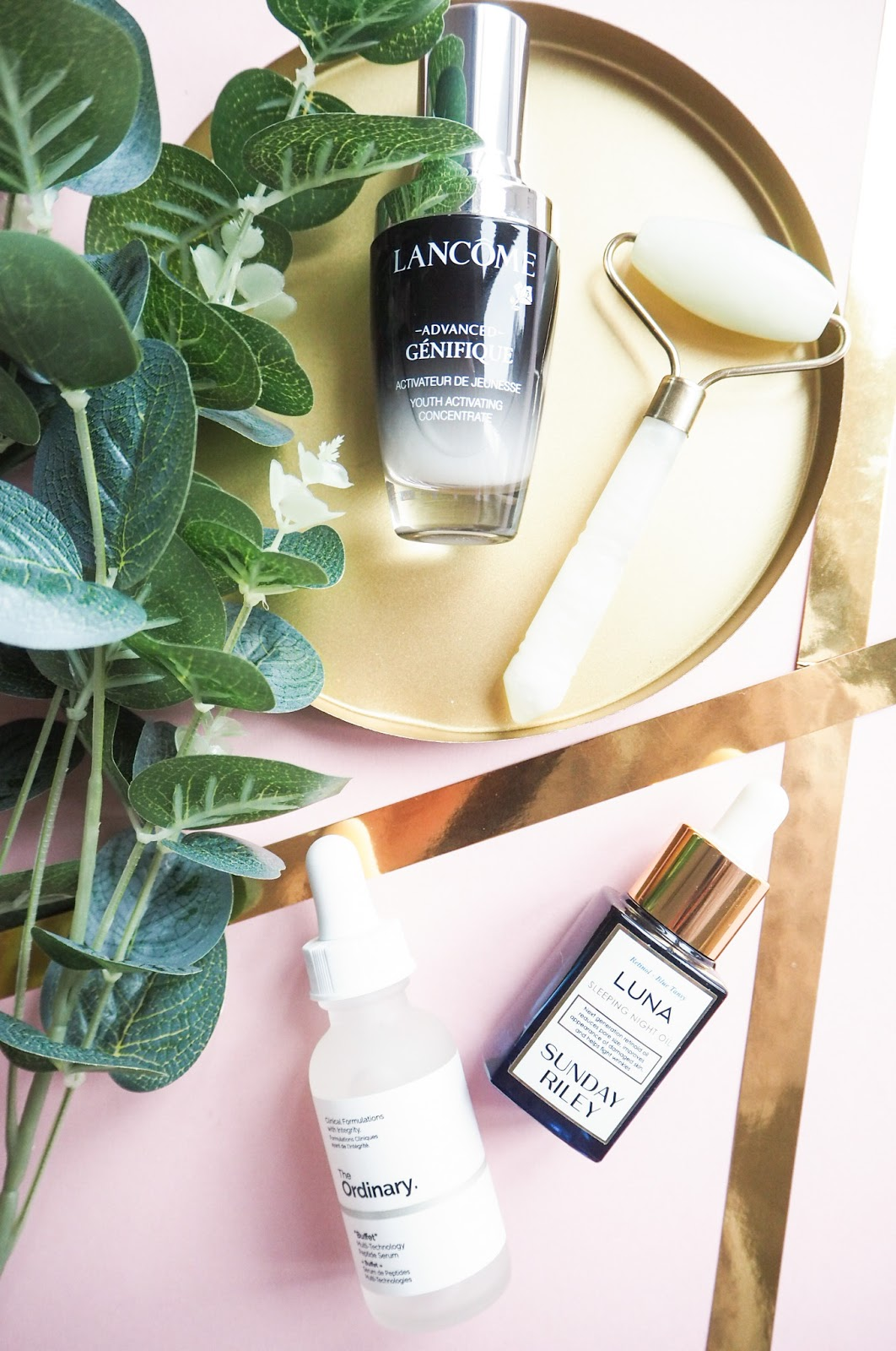 Lancome Advanced Genifique Youth Activating Serum, Sunday Riley Luna Sleeping Night Oil, The Ordinary Buffet