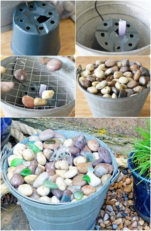 DIY Water Fountain with Bucket and Rocks