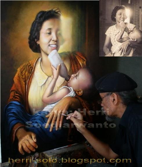 Lukisan Wajah Kasih Ibu, karya Herri Soedjarwanto