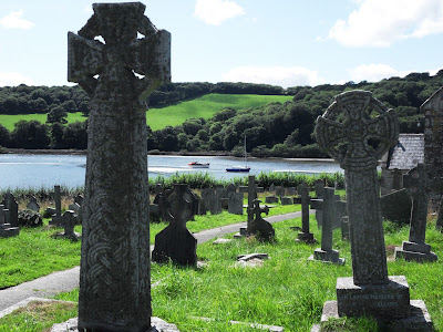 Celtic Crosses at St Winnow Church Lerryn Cornwall