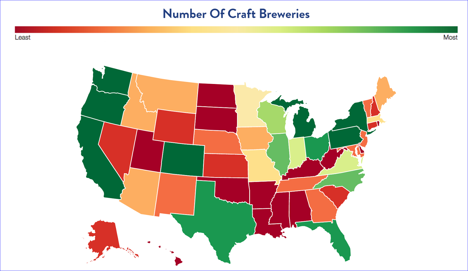 united states map number of craft breweries