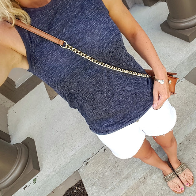 Gap Knit Racerback Tank // Old Navy Cut Off Denim Shorts // Arturo Chiang Lyra Sandals - only $37 (reg $69) // Rebecca Minkoff Love Crossbody Handbag (I found an awesome look-a-like bag for only $35! Target just added a new look-a-like bag too and it's only $30) // Purple Peridot Cuff Bracelet - sold out in clear, but on sale for $8 (reg $25)