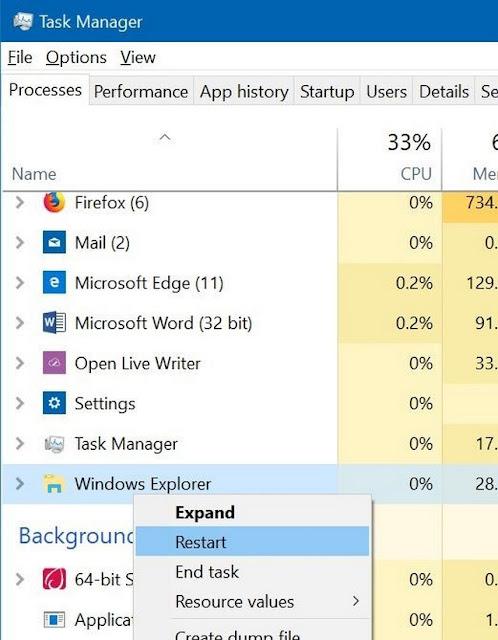 إصلاح مشكلة شريط المهام Taskbar لا يعمل في ويندوز 10