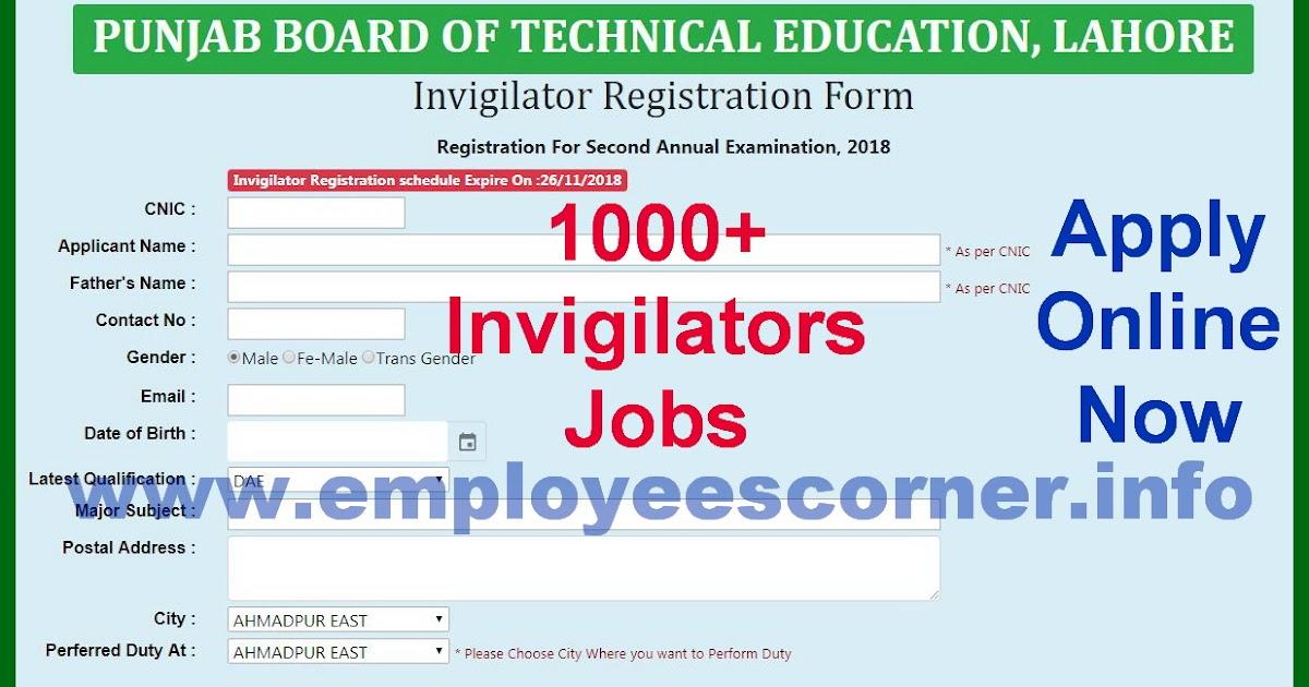 1000+ Invigilators Jobs in Punjab Board of Technical