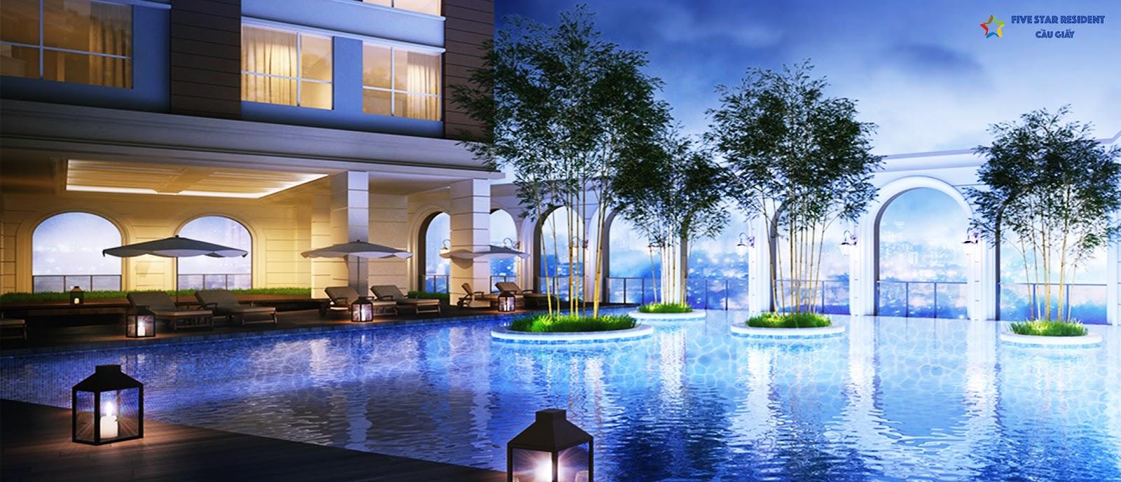 Bể bơi bốn mua chung cư Five Star Cầu Giấy