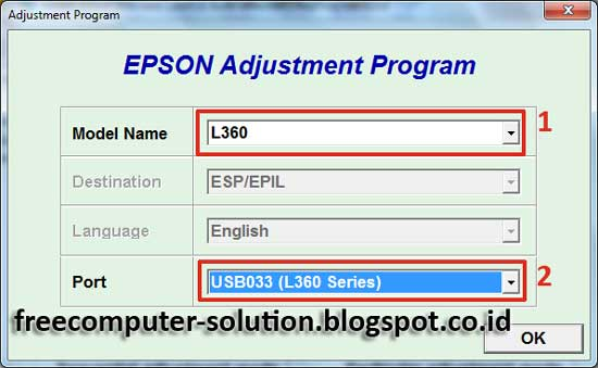 Reset Epson L360 printer with Epson adjustment program