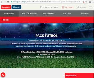 Pack Fútbol Cablevisión - canales premium para ver la Superliga