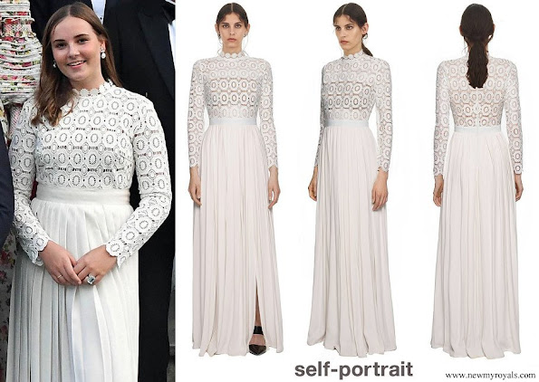 Princess Ingrid Alexandra wore Self-Portrait pleated crochet floral maxi dress