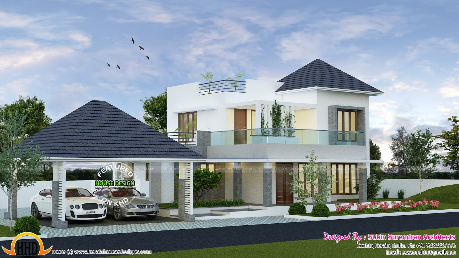 2123 square feet modern house with separate porch kerala for Variety home designs