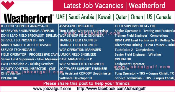 Latest Job Vacancies   Weatherford - UAE   Saudi Arabia ...