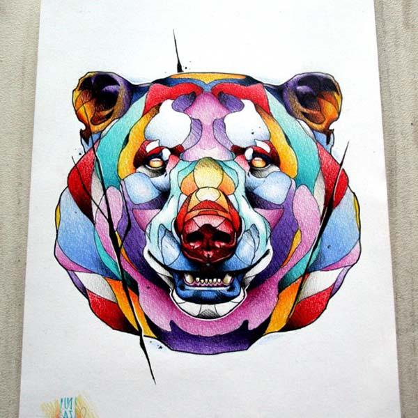 watercolor bear tattoo draw