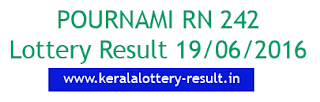 Pournami RN 242 lottery result, Kerala today's pournami rn242 result, Check Kerala Pournami lottery result 19-06-2016, Porunami RN-241 result check, Kerala Lotteries Pournami RN242 result 19/6/2016