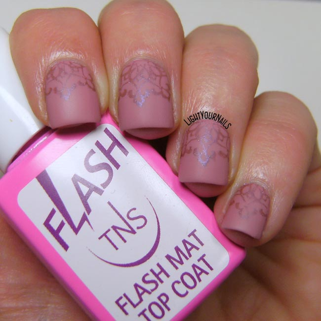 Pink stamping nailart feat. Astra, Colour Alike, Bornpretty BP-104