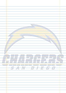 Folha Papel Pautado San Diego Chargers PDF para imprimir na folha A4