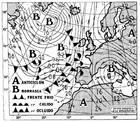 Mapa isobárico del 18/2/79