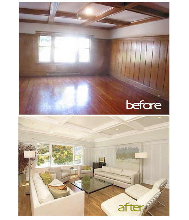 Painted wood paneling before after b b for How to paint wood windows interior