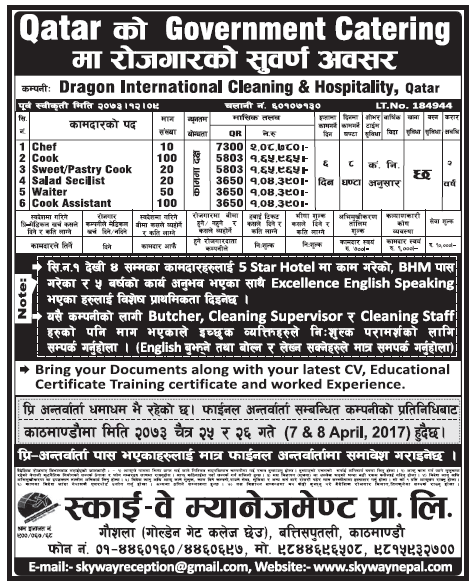 Jobs in Qatar for Nepali, Salary Rs 2,08,780