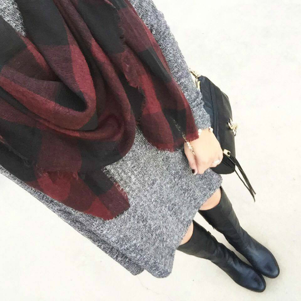 gray swing dress, black riding boots