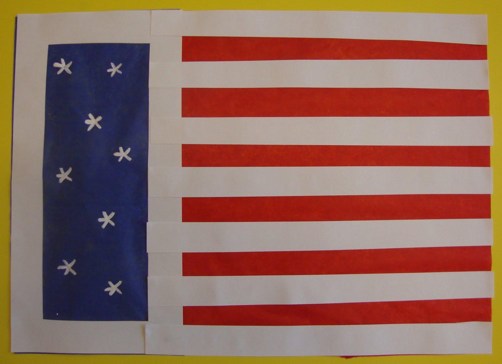 Art Paper Scissors Glue Memorial Day Flag