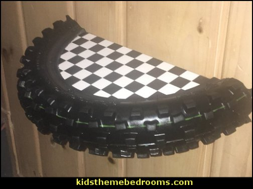 Motocross Tire Shelf  Motocross bedroom ideas - Dirt bike room decor - Dirt bike wall art - Motocross bedding - flame theme decorating ideas - dirt bike room stuff - dirt bike themed rooms - motocross room decor -