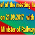Brief of the meeting held on 21.09.2017 with Hon'ble Minister of Railways - AIRF