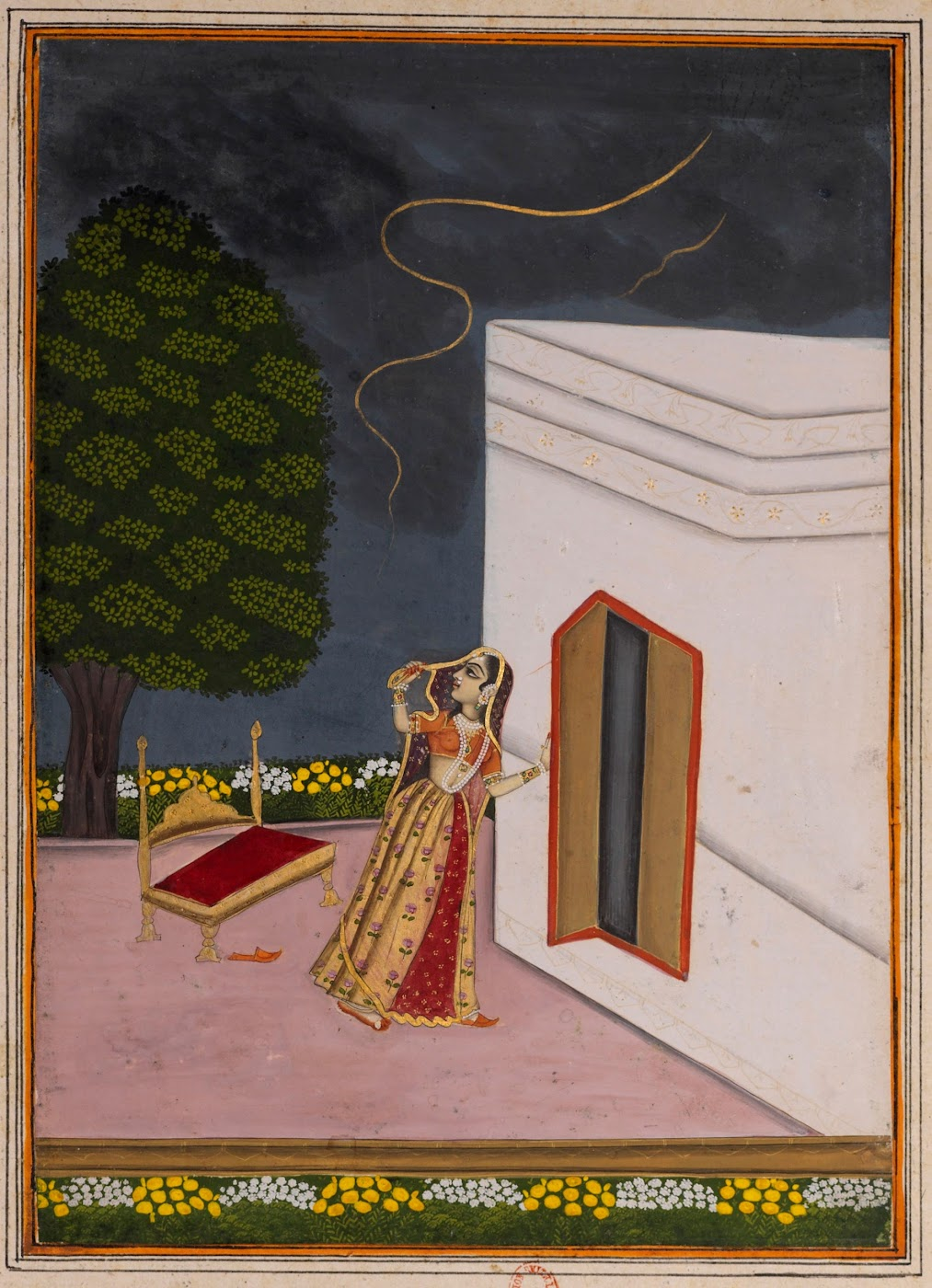 Lady Observing Lighting in the Sky - Rajput Ragamala Painting from a Manuscript, Circa 1800