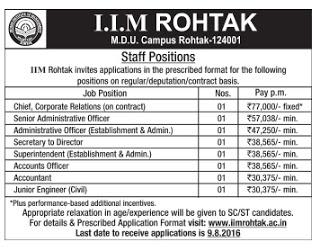 IIM Rohtak Recruitment 2016 - 08 Junior Engineer, Accountant Posts | www.iimrohtak.ac.in