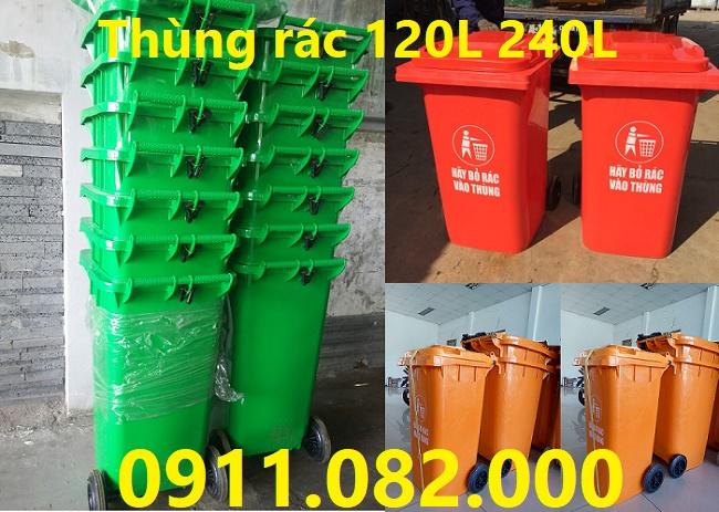 Phân phối thùng rác 240 lít giá rẻ tại huyện củ chi- thùng rác nắp kín