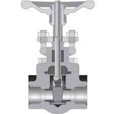 cutaway view forged steel gate valve with handle and weld socket connections