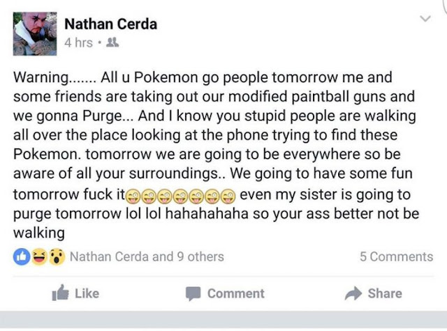 """Arrestan a un hombre que amenazó con """"purgar"""" las calles de jugadores de Pokémon Go"""