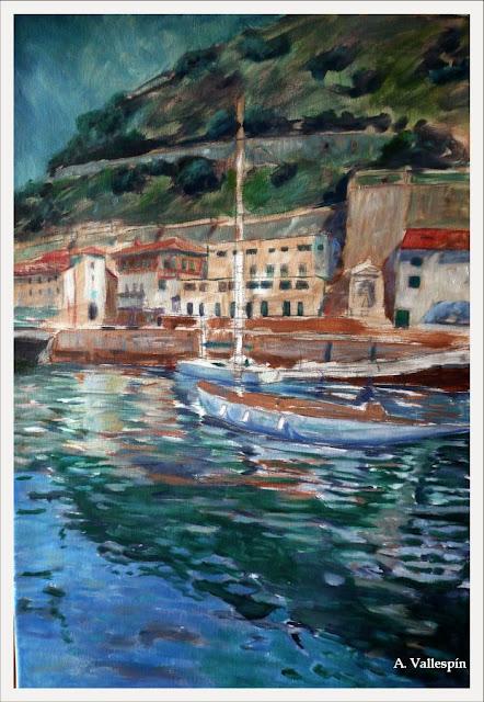 Oleo del puerto viejo de San Sebastian