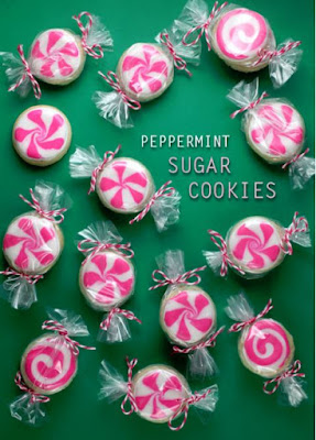 Sugar cookies decorated to look like peppermint candies