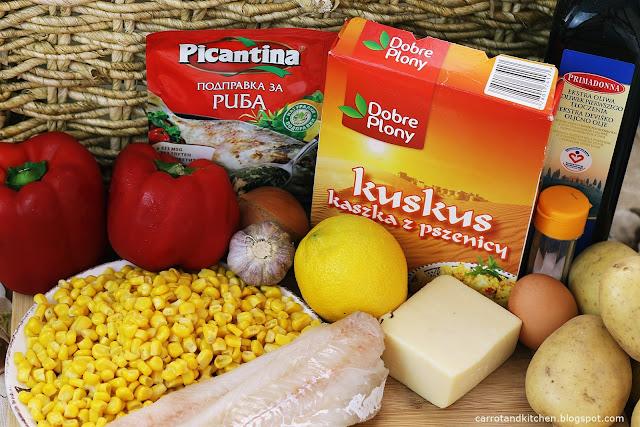 Filet z mintaja, faszerowane papryki i frytki