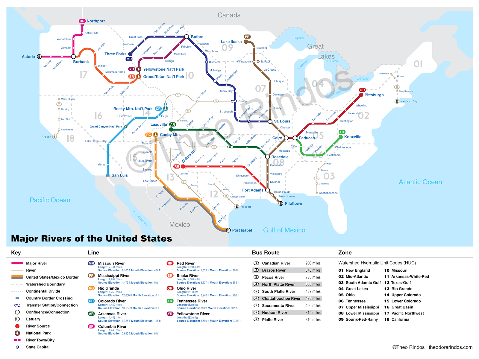 The Rivers Of The United States As A Subway Map Vivid Maps - Us map lakes and rivers
