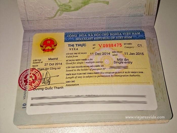 Visado turístico Vietnam una sola entrada